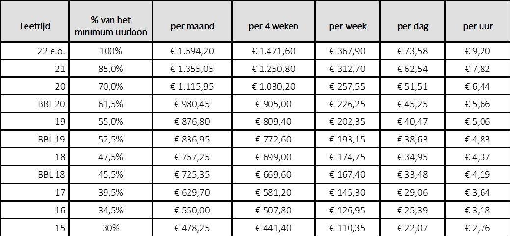 minimum-jeugd loon